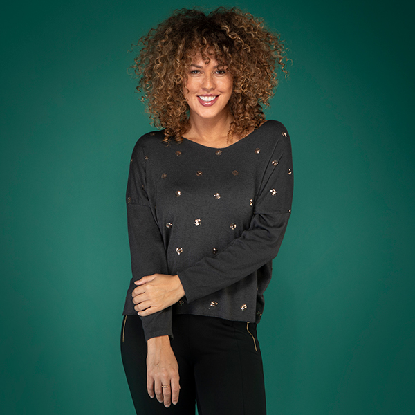 Nabella Sequin Spot Knit Jumper Grey