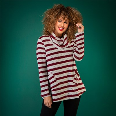 Nabella Stripe Cowl Neck Tunic