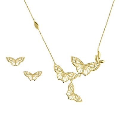 Sara Miller 18ct GP Butterfly Necklace &