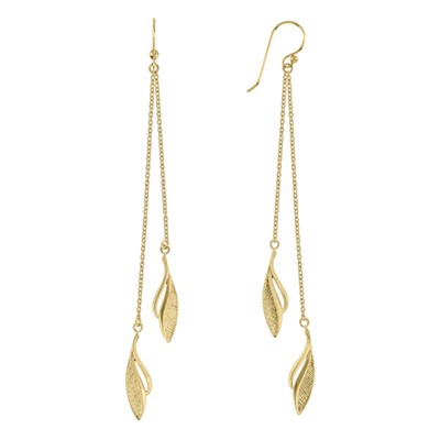 Sara Miller 18ct GP Leaf Drop Earrings