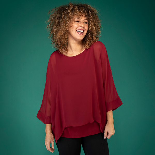 Firenzaa Collection Chiffon Layered Top Wine