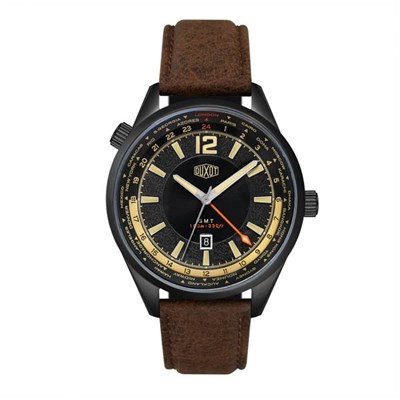 Duxot Gent's Ascensus Swiss Quartz Dual Time Watch on Genuine Leather Strap