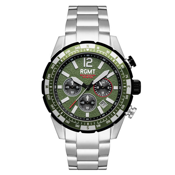 RGMT Gent's Navigator Chronograph Watch with Stainless Steel Bracelet Green