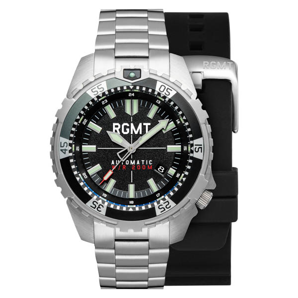 RGMT Gent's Recon Automatic Watch with Stainless Steel Bracelet & Extra Strap Black
