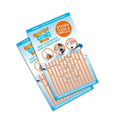 Must Have Solutions Easy-Flow Drain Sticks - 2 Packs of 12 Easy-Flow Drain Cleaner and Sanitiser
