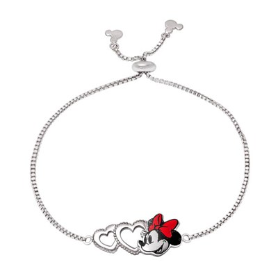 Disney Minnie Mouse Silver Plated Love Heart Bracelet