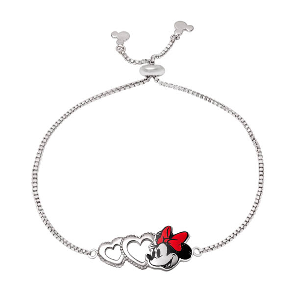 Disney Minnie Mouse Silver Plated Love Heart Bracelet No Colour