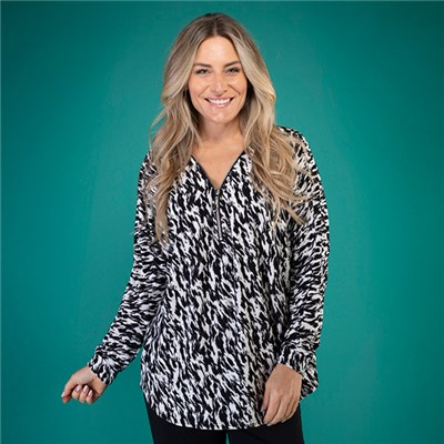 Indigo & Co Jersey Print Zip Through Top