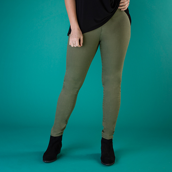 Indigo & Co Pull On Jegging - 29 Inch Khaki
