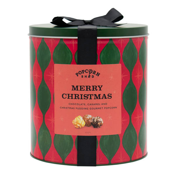 Merry Christmas Popcorn Gift Tin 400g with Cararmel, Chocolate & Christmas Pudding Popcorn No Colour