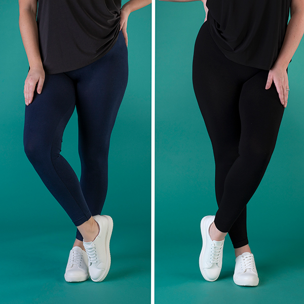 Emelia 2-Pack Viscose Rich Leggings Black/Navy