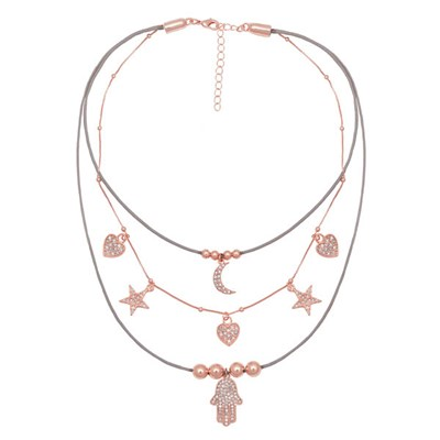 Kasara Celestial Positivity Leather Layered Necklace