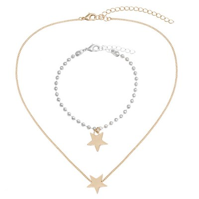 Kasara Single Star Friendship Necklace and Bracelet Set