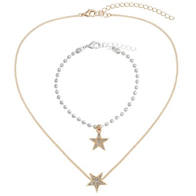 Kasara Single Pave Star Friendship Necklace and Bracelet Set
