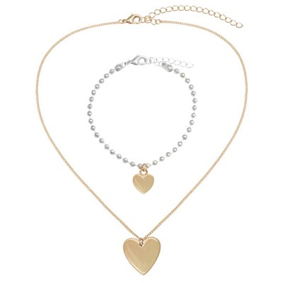 Kasara Single Heart Friendship Necklace and Bracelet Set