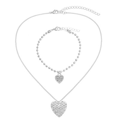 Kasara Single Pave Heart Friendship Necklace and Bracelet Set
