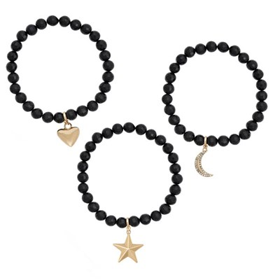 Kasara Star, Heart, Moon Stretch Faceted Bead Trio Bracelet Set
