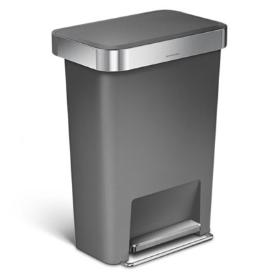 Simplehuman 45 Litre Rectangular Kitchen Step Bin with Soft-close Lid - Grey Plastic - CW1386CB