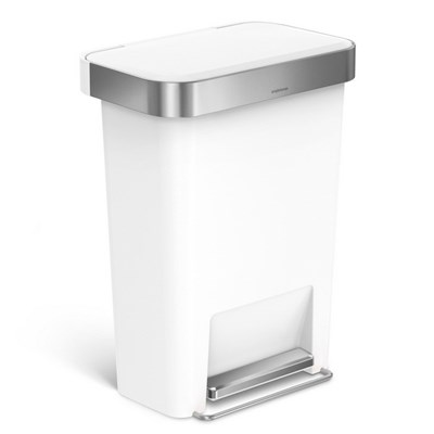 Simplehuman 45 Litre Rectangular Kitchen Step Bin with Soft-close Lid - White Plastic - CW1387CB