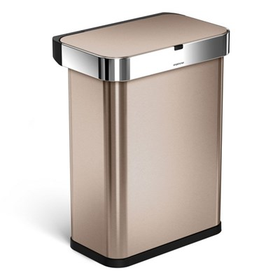 Simplehuman 58L Rectangular Sensor Bin with Voice and Motion Control - Rose Gold Stainless Steel - ST2032