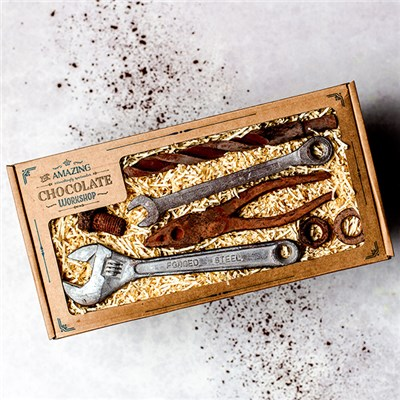 Amazing Chocolate Workshop Gift Box inc. Adjustable Spanner, Pliers, Spanner, Drill Bit, Nut, Bolt & Washers