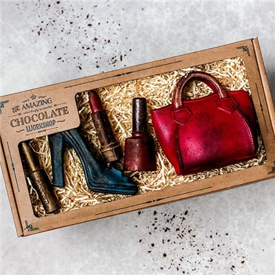 Amazing Chocolate Workshop Gift Box inc. Handbag, Shoe, Mascara, Lipstick & Nail Varnish
