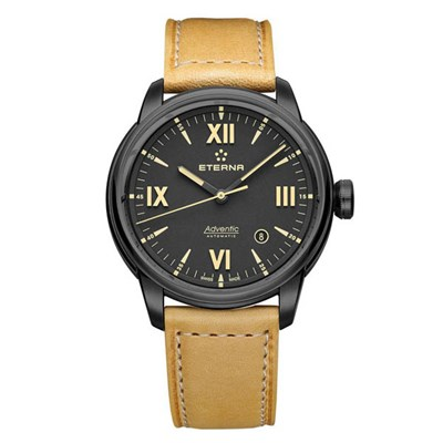 Eterna Gents Swiss Adventic Sellita SW200-1 Watch with Genuine Leather Strap