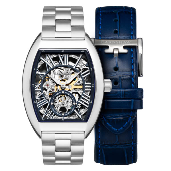 Thomas Earnshaw Gent's Ltd Ed Chapel Automatic Watch with Stainless Steel Bracelet, Extra Strap & Complimentary Gift Blue
