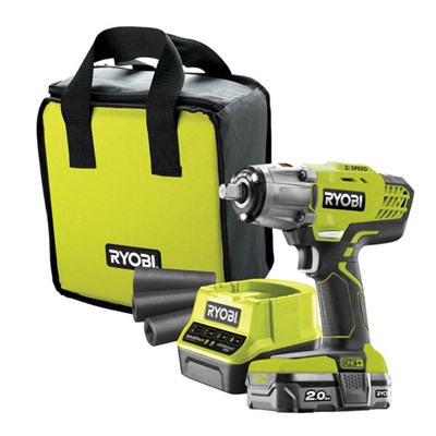 Ryobi 18v One+ Cordless Impact Wrench, 2Ah Battery and Charger