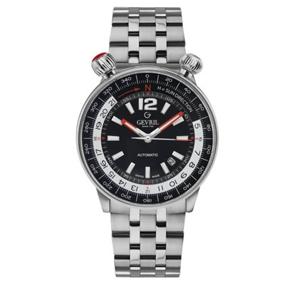 Gevril Gents Ltd Ed Wallabout Swiss Automatic Ruben & Sons MD3G Watch wIth Stainless Steel Bracelet