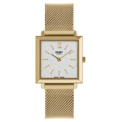 Henry London Ladies' Heritage Gold Square Watch with Stainless Steel Bracelet