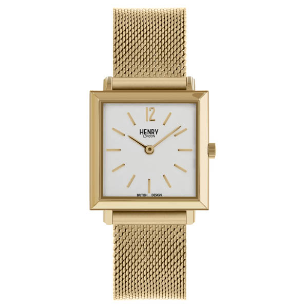 Henry London Ladies' Heritage Gold Square Watch with Stainless Steel Bracelet Gold