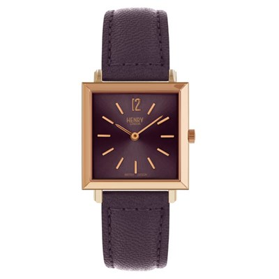 Henry London Ladies' Heritage Square Watch with Leather Strap