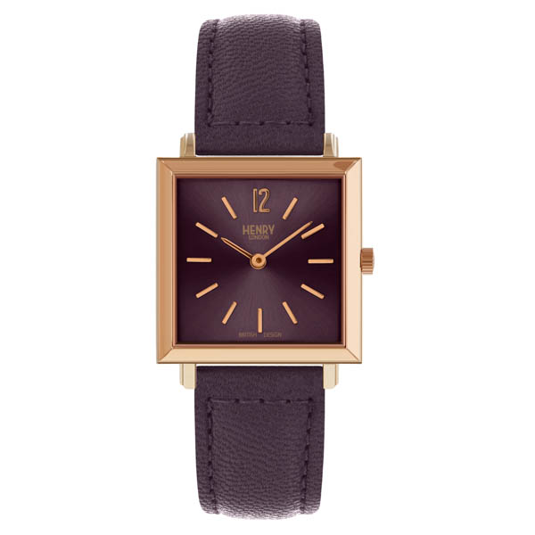 Henry London Ladies' Heritage Square Watch with Leather Strap Purple