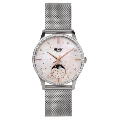 Henry London Moonphase Watch with Stainless Steel Bracelet