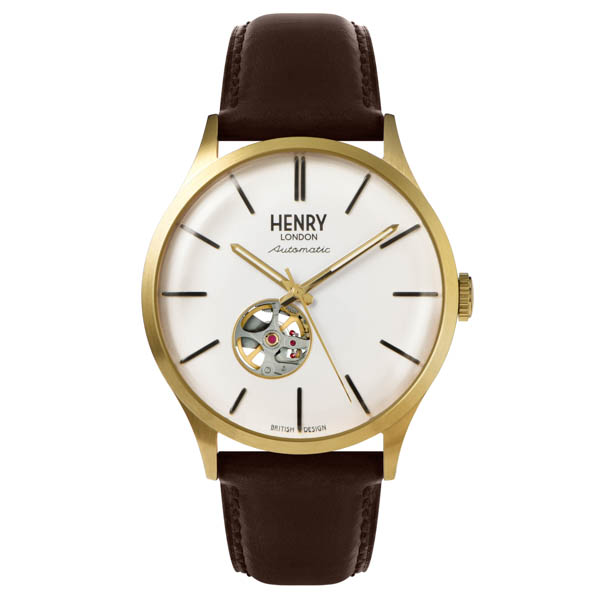 Henry London Gent's Automatic Watch with Leather Strap White