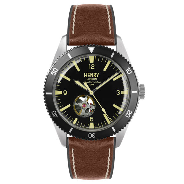 Henry London Gent's Sports Automatic Watch with Silicone Strap Brown