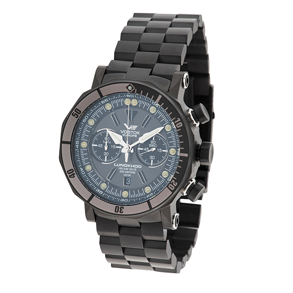 Image of Vostok Europe Gents Lunokhod 2 Chronograph Watch, Stainless Steel Bracelet, Extra Strap & Dry Box