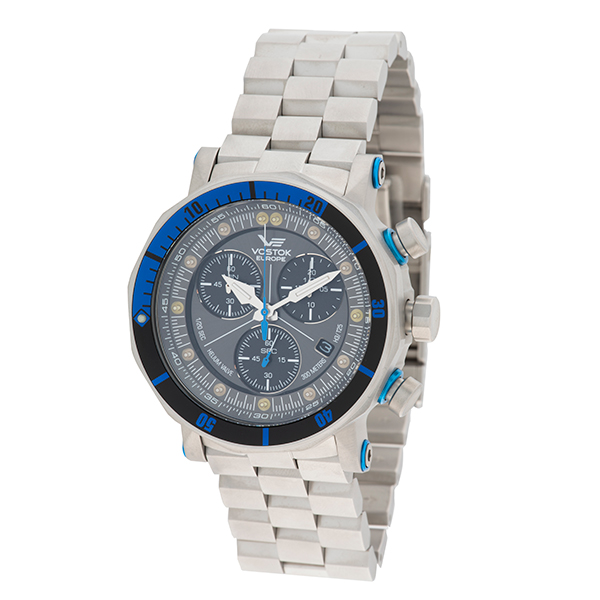 Image of Vostok Europe Gents Lunokhod 2 Chronograph Watch with Stainless Steel Bracelet, Extra Strap & Dry Box
