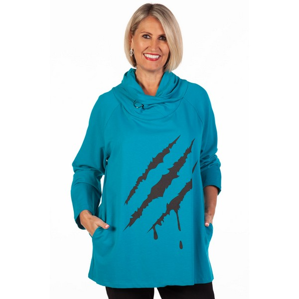 Fizz Turquoise Cowl Neck Lightning Flash Zip Hoodie One Size Turquoise