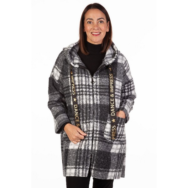 Fizz Black & White Dance and Impress Zip Front Checked Coat One Size Black & White