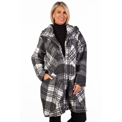 Fizz Black & White Zip Front Hooded Wool Check Coat