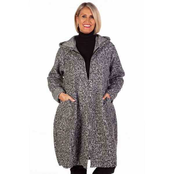Fizz Grey Marl Zip Hooded Coat One Size Grey Marl