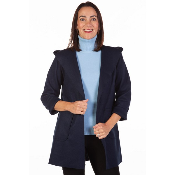 Fizz Navy Edge To Edge Hooded Jacket One Size Navy