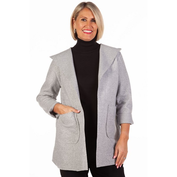 Fizz Grey Edge To Edge Hooded Jacket One Size Grey