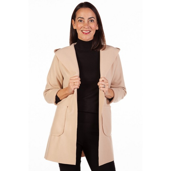 Fizz Stone Edge To Edge Hooded Jacket One Size Stone