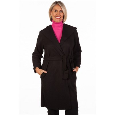 Fizz Black Edge To Edge Belted Coat