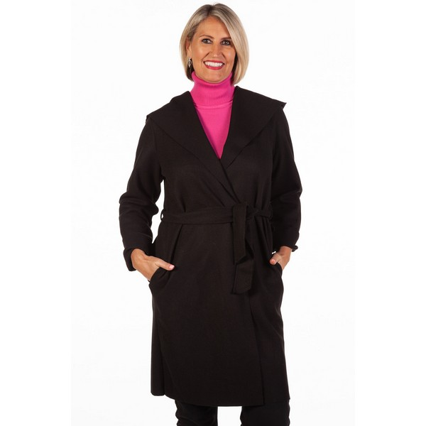 Fizz Black Edge To Edge Belted Coat One Size Black