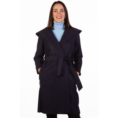 Fizz Navy Edge To Edge Belted Coat