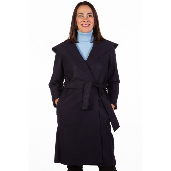 Fizz Navy Edge To Edge Belted Coat One Size Navy
